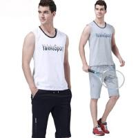 男士纯棉大码休闲健身跑步服男士背心T恤短裤套装新款男装无袖运动服