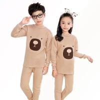 儿童保暖内衣套装纯棉加厚三层夹棉男童女童中大童3-5-7-9-11周岁