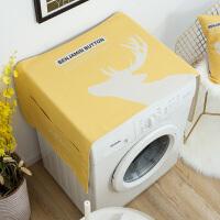 滚筒洗衣机罩简约单开门冰箱盖布布艺棉麻床头柜防尘罩厚 55cmX140cm