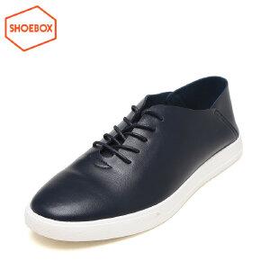 SHOEBOX/鞋柜新款休闲皮鞋圆头低跟男鞋男士系带鞋