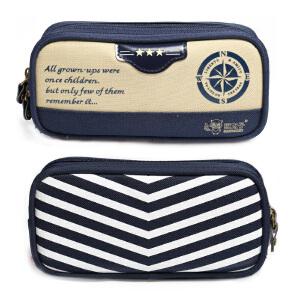 猫太子 海军风罗盘帆布双层笔袋 大容量铅笔盒文具袋 学生文具