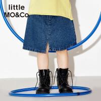 littlemoco女童装个性剪边开衩金属圆环装饰牛仔半身裙KA171SKT403