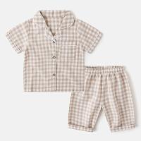 格子短袖儿童家居服套装宝宝童装男童睡衣