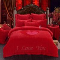 水晶绒婚庆四件套床盖款结婚床上用品六八件套大红色加厚保暖被套