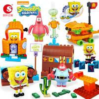 海绵宝宝积木玩具儿童拼插玩具公仔创意动漫模型组装