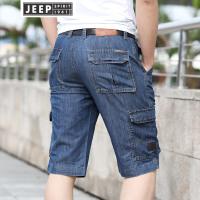 JEEP吉普牛仔中裤男士牛仔多袋裤夏季薄款直筒七分裤男休闲牛仔短裤工装裤