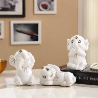 创意大象陶瓷摆件 三小象陶瓷摆件办公室桌面大象装饰品家居工艺品礼品创意摆设可爱 三只小象