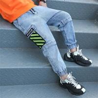 童装男童牛仔裤春秋2020中大儿童宽松版工装裤男孩束脚裤