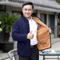 韩观新款中老年男装加绒加厚棉袄爸爸装宽松外套中年男士冬季棉衣