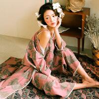 韩版春秋新款女士睡衣纯棉五分袖性感吊带和服三件套家居服阔腿裤 图片色