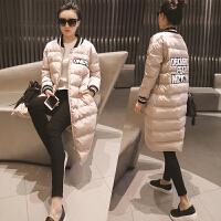 韩观2017冬季新款女士韩版修身棉袄中长款棒球服羽绒棉衣外套女潮