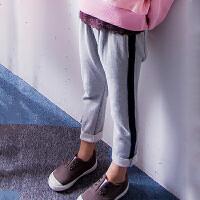 韩版女童运动裤春秋季时尚棉质中大童九分裤休闲儿童长裤