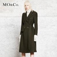 MOCO秋双排扣翻领收腰修身风衣外套腰带大衣女MA173OVC104 摩安珂