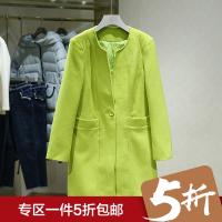 毛呢外套女冬装新款 圆领纯色修身显瘦一粒扣中长款呢子大衣