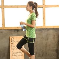 加大码运动套装女装跑步健身衣假两件七分裤瑜伽服两件套
