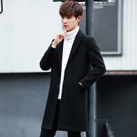 毛呢大衣男中长款韩版修身帅气风衣青年学生英伦冬季加厚呢子外套 71379黑色 M