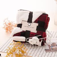 家纺宿舍学生美式欧式毛毯冬季羊羔绒保暖盖毯印花双层加厚法兰绒 红色格子 127cmx178cm