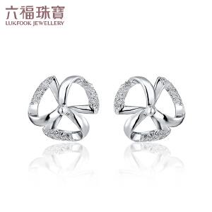六福珠宝Pt990铂金耳钉女款磨砂三叶小风车白金耳钉     GCP50004