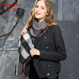 卡蒙羊毛格子流苏围巾女秋冬季英伦风长款羊毛加厚披肩围巾两用1866