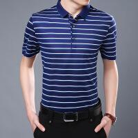 夏季新款T恤短袖条纹翻领中年男士POLO衫T体恤休闲男装