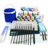 马利牌水粉颜料套装G1100水粉画颜料100ML 水粉画笔工具箱调色盒