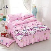 卡通纯棉床裙式四件套儿童床罩被套1.2m1.5米床上用品4件套夏 粉红色 快乐猫咪