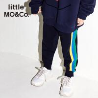 littlemoco秋季新品儿童裤子侧边条纹运动风针织裤休闲裤长裤裤子