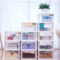 一体式抽屉柜塑料可视收纳柜多层免装家用衣物储物柜整理柜