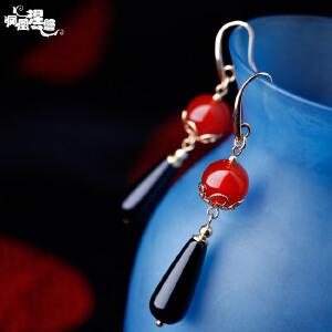 凤凰涅磐耳环女黑红玛瑙长款气质水晶手工耳饰民族风饰品