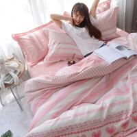 粉色可爱波点棉床上四件套棉三件套学生宿舍单人床单被套