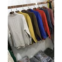 J3秋冬新韩版串珠加厚半高领毛衣女套头长袖麻花打底衫针织衫0.45