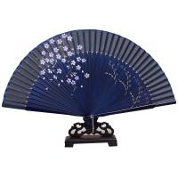 中国风真丝女扇子日式和风樱花古风折扇手工艺折叠丝绸小绢扇夏天 垂樱-蓝色七夕 抖音