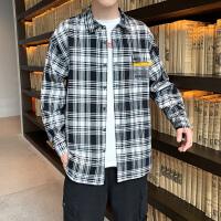 男新款长袖衬衫韩版潮流宽松格子休闲衬衣男装衣服寸衫外套