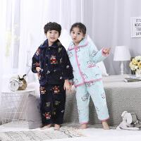 儿童睡衣秋冬季珊瑚绒男童法兰绒套装