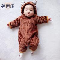 春秋装新生儿女婴儿衣服1岁6个月男宝宝长袖哈衣爬服秋冬季连体衣
