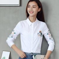 【2件6折】AGECENTRE时代中心 白衬衫女长袖Polo领修身上衣2017新款秋装刺绣衬衣白衬衫女长袖Polo领修身上衣