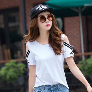 夏季新款韩版宽松显瘦漏肩短袖t恤女纯色简约时尚打底潮上衣