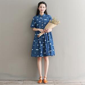 RANJU 然聚2018女装夏季新品新款印花牛仔娃娃裙女夏短袖文艺宽松大码连衣裙女