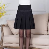 中年女装秋冬厚款百褶裙女款显瘦短裙膝上裙靴裙OL中裙毛呢半身裙