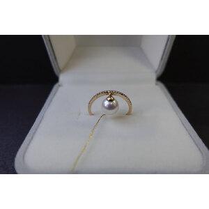 14k金镶钻日本akoya珍珠戒指