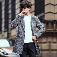 潮牌风衣男秋冬中长款韩版单排扣修身帅气青年休闲毛呢外套