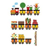 儿童早教数字贴纸动物列车火车卡通墙贴幼儿园教室布置贴画壁纸