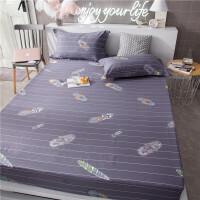 床笠斜纹棕垫床垫套单件 床罩席梦思保护套1.5/1.8m米床 倾言倾羽-全棉 单床笠 180x200cm 三件套