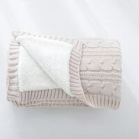 伊迪梦家纺 针织麻花双层复合毯冬被 羊羔绒毛毯 毛毯子单人汽车盖毯沙发休闲毯铺毯SJ101