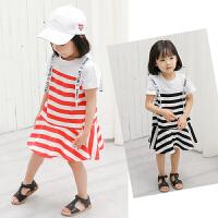 女宝宝洋气裙子女童韩版针织条纹连衣裙儿童拼接裙子夏装