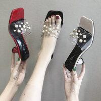 凉拖鞋子女ins潮外穿户外百搭时尚串珠细高跟一字拖