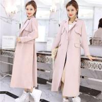 韩版长款风衣女西装领修身显瘦OL风开叉时尚春季新款大衣欧洲站