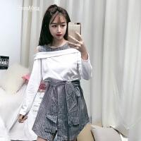 假两件套露肩连衣裙2018新款春装韩版显瘦短裙学生系带条纹T恤裙 灰色 均码