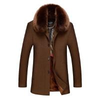 冬装中老年人男士毛呢大衣爸爸装中长款毛呢子毛领加厚男加绒外套