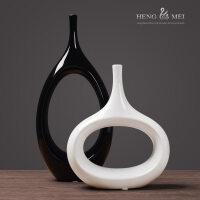 创意陶瓷家居装饰个性摆件工艺品客厅酒柜玄关抽象椭圆花瓶摆件 创意椭圆形瓶